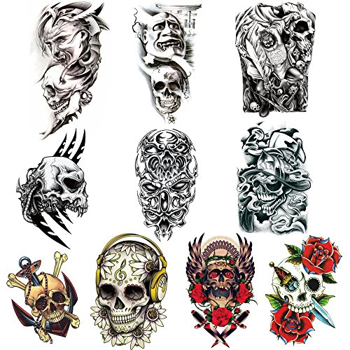Raven Makeup Costume Eye (KTCLCATF 10 Sheets Temporary Tattoos Arm, Body ,Chest ,Back Tattoo Sticker for Men and Women (KUL01-10)