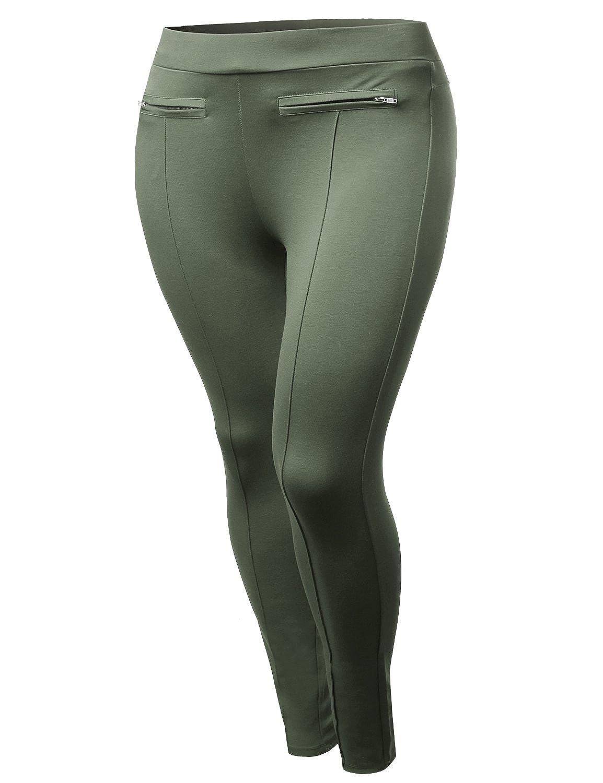 Plus4u Women's Good Stretchy Elastic band Ponte Pull on Pants