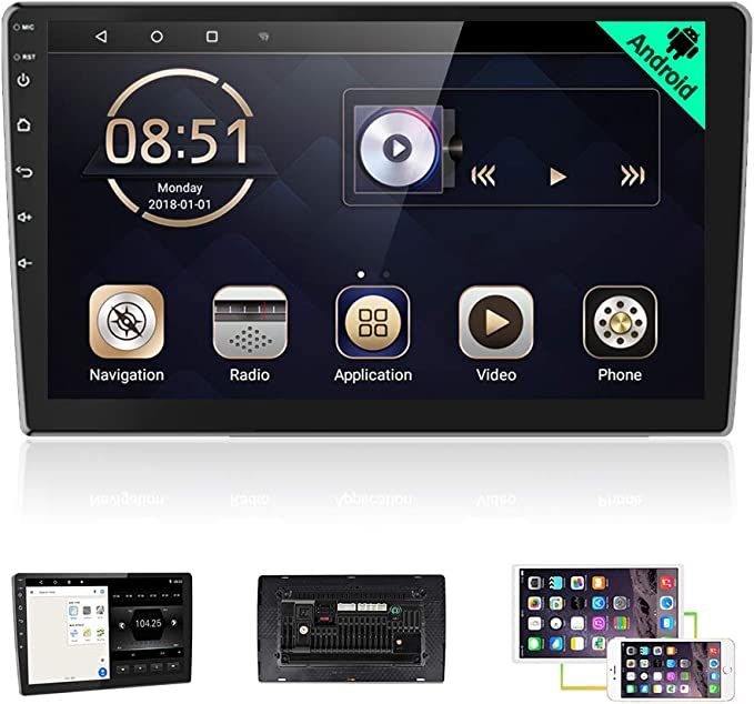 TANOU Android 8.1 Car Player 10 Inch 1 Din 1G+16G Universal GPS ...