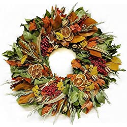 Fall Cinnamon and Berry Dried Flower Wreath 20 inch- Natural Wreath For Harvest Autumn Decor- Grown And Handcrafted In The USA WIth Dried Fall Harvest Ingredients-