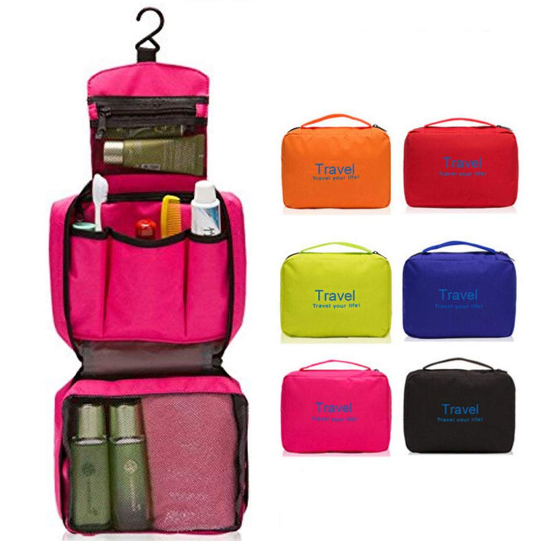 SunKni Travel Toiletry Bag Hanging Cosmetic Makeup Organizer Bag Kit Compact Portable Pouch for Women Girls Kids Personal Accessories, Large Capacity Waterproof Multi Function with Hook Rose Red