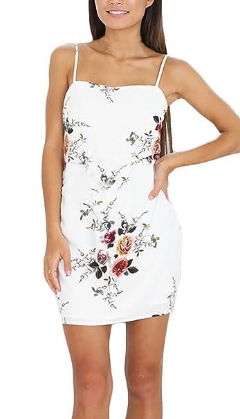 Vestidos Mujer Verano De Fiesta Cortos Blancos Elegantes Estampados Floral  Vestido De Cóctel Tubo Sin Mangas b9e85d4af0e4