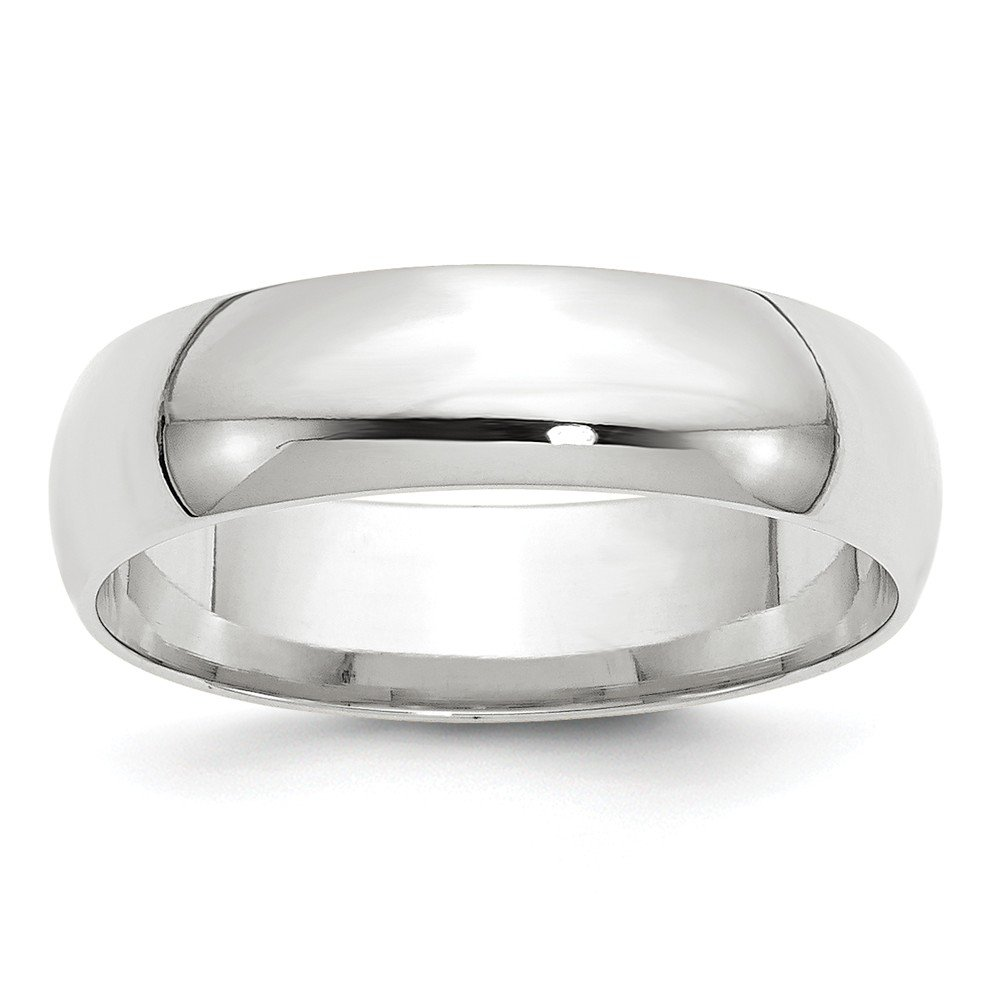 Solid 14k White Gold 6mm Comfort Fit Wedding Band Size 6 by Sonia Jewels