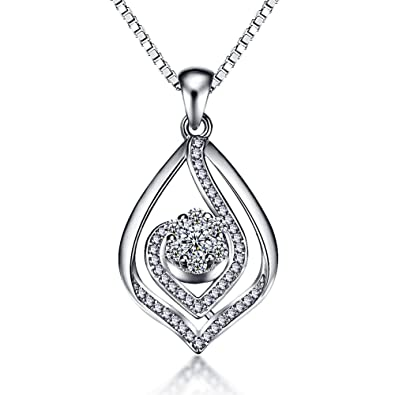 Viyino 925 Sterling Silver Necklace Cubic Zirconia Love in Heart Pendant with 18