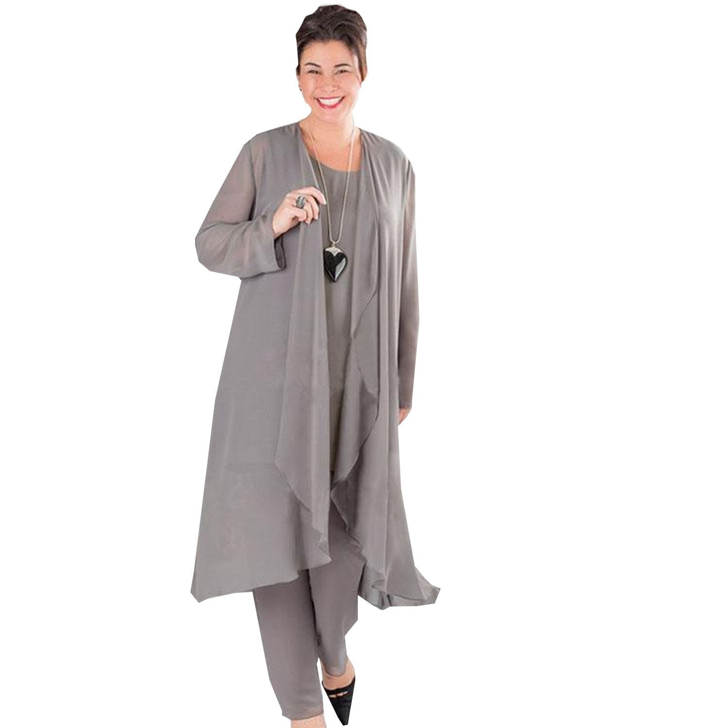 dressvip Round Neck Sleeveless Gray Chiffon 3 Suits Mother Of Bride Outfits With Trousers