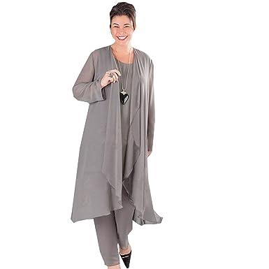 dressvip Round Neck Sleeveless Gray Chiffon 3 Suits Mother of ...