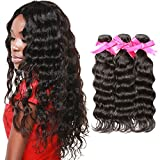 DSOAR Brazilian Virgin Wavy Hair Weave 3 Bundles 8A 100 Percent Unprocessed Human Hair Extensions Natural Color-10''12''14''