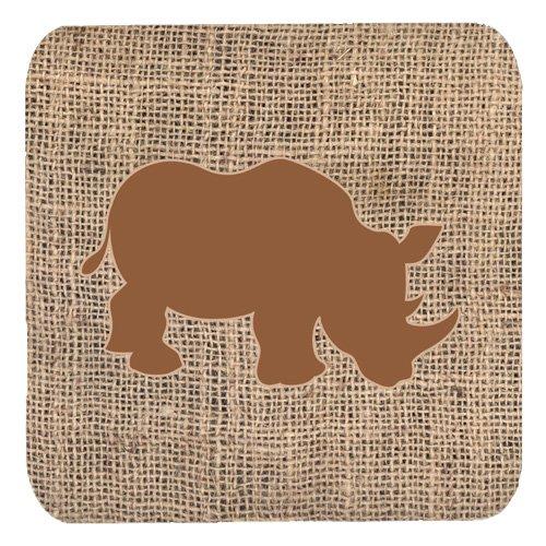 Caroline 's Treasures bb1006-bl-bn-fc Rhinoceros黄麻布とブラウンFoam 4コースターのセット、3 1 / 2 x 3 1 / 2、マルチカラー   B071FRQVRP