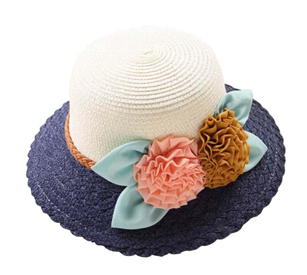 Alien Storehouse [Navy] Elegant Summer Straw Hat Beach Hat Wide Brim Hat Bucket Hat for Lady