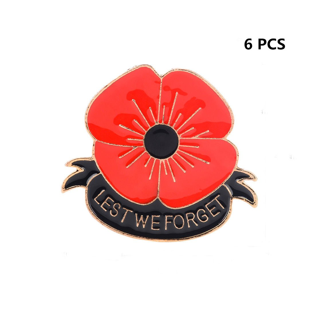 6 Pack Classic Red Poppy Flowers Brooch Pin Badge Glitter Soldier Enamel Lapel Plating Pin Gift for Remembrance Day HS Onsing