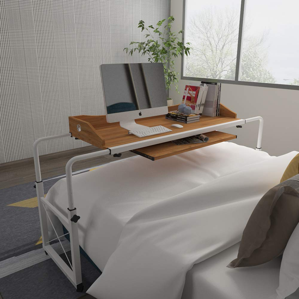Huisenus Mobile Height Adjustable Overbed Table Laptop Table Cart with Wheel Computer Desk Rolling Table for Medical Hospital Home Use Workstation Utility Desk Wood 1.2M by Huisenus