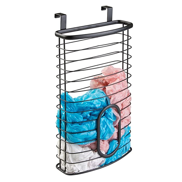 mDesign Metal Over Cabinet Kitchen Storage Organizer Holder or Basket - Hang Over Cabinet Doors in Kitchen/Pantry - Holds up to 50 Plastic Shopping Bags - Matte Black