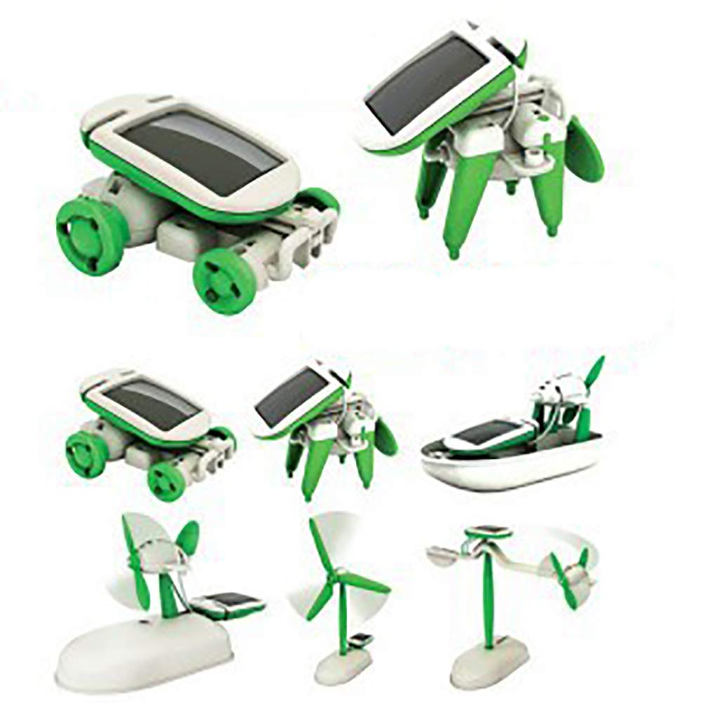 Naisidier 1pc 6 in 1 Creative DIY Solar Battery Power Assembling Toy for Children Home Garden Kitchen Christmas Decoration