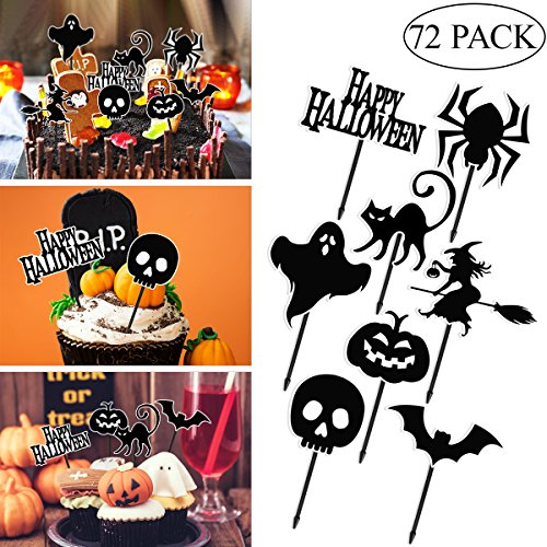 Amosfun 72pcs Halloween Cupcake Toppers Family Friendly Halloween Party Creepy Cake Fruits Decorations Party Supplies - Pumpkin/Ghost/Skull/Witch/Spider/Black -