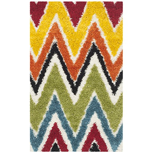 Safavieh Kids Shag Collection SGK567A Ivory and Multi Area Rug (3′ x 5′)