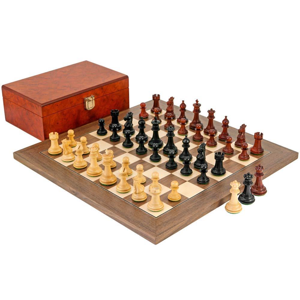 Madrid Tres Corone Ebenholz, Padouk und Nussbaum Schachspiel