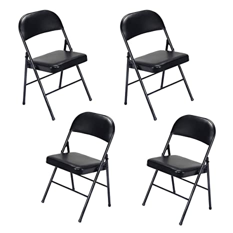 Amazon.com: 5 sillas plegables de plástico negro apilables ...
