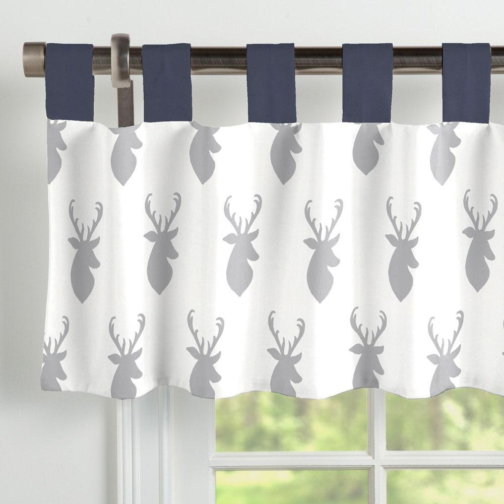 Carousel Designs Silver Gray Deer Head Window Valance Tab-Top by Carousel Designs