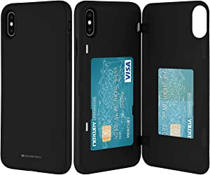 GOOSPERY iPhone Xs Max Wallet Case with Card Holder, Protective Dual Layer Bumper Phone Case (Black) IPXSMAX-MDB-BLK