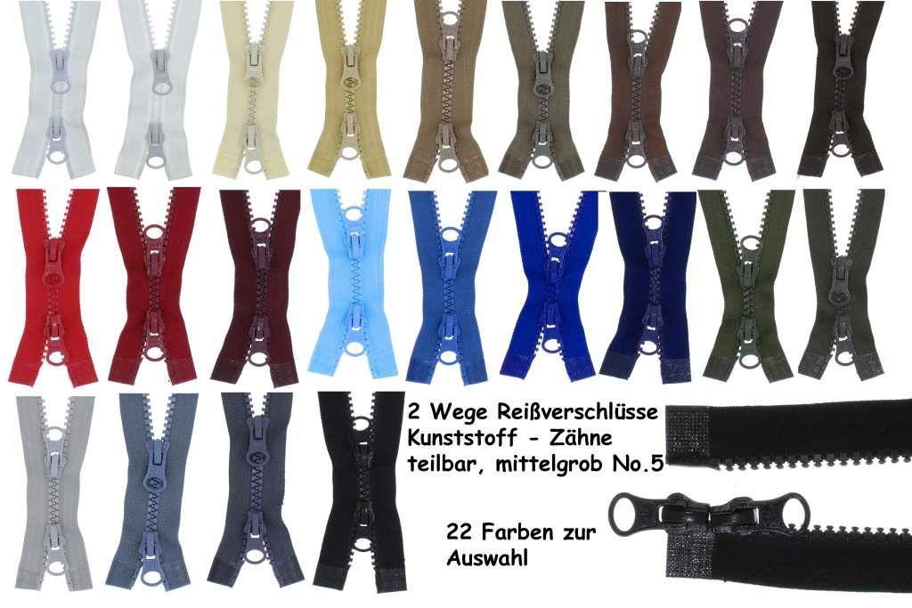 Plastik Z/ähne teilbar 5-6mm 2PZ schwarz zipworld 2-Wege Rei/ßverschluss Kunststoff 322 100cm