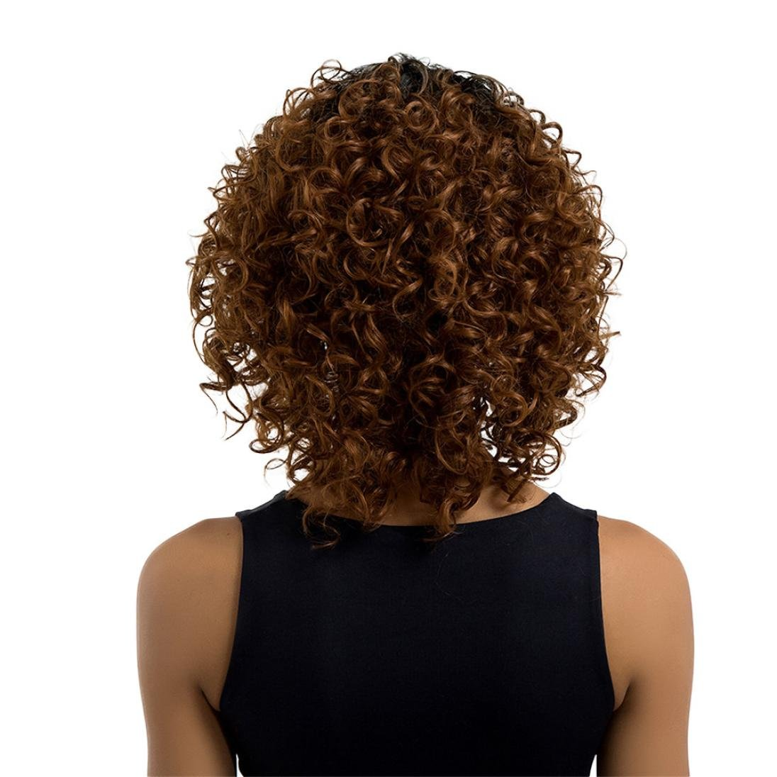 Inkach - Short Curly Wig ❤️ Womens Long Lace Front Wavy Bob Wig ❤️ Heat Resistant Synthetic Hair Full Wigs (Brown) by Inkach - (Image #2)