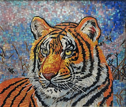 2' Glass Mosaic Tile - Glass Tile Mural - Tiger - Ready to Hang, Fine Cut - Mosaic Art