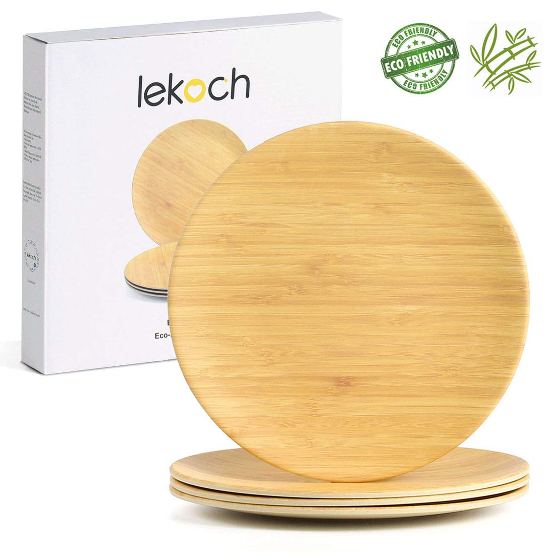Lekoch Bamboo Plates | Eco-friendly & Reusable Dinnerware Sets for Home Picnic | BPA Free Dishwasher Safe, Pack of 4