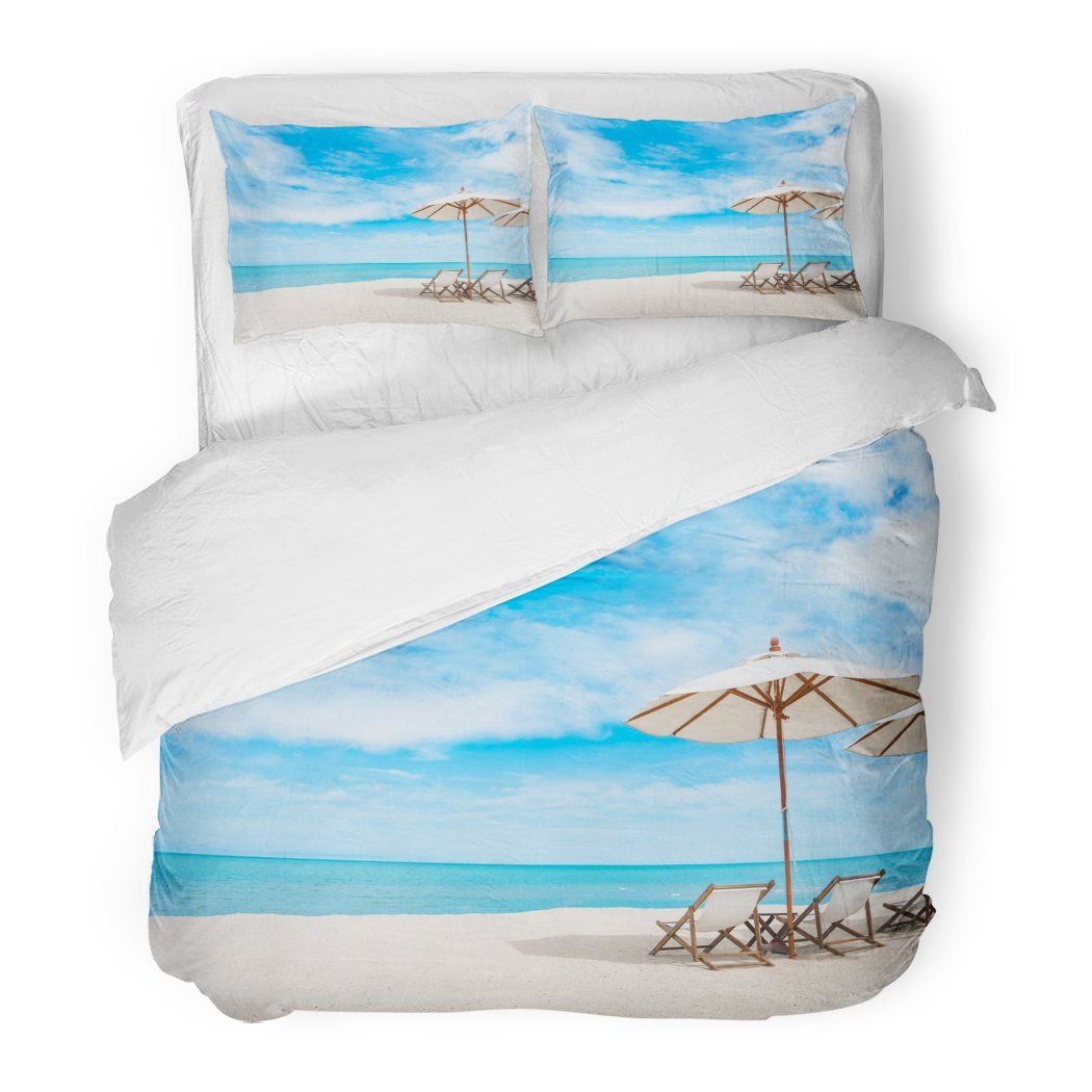 SanChic Duvet Cover Set Thai Beach Chair with Umbrella Blue Sky on Tropical Coast Scene White Decorative Bedding Set with 2 Pillow Shams Full/Queen Size