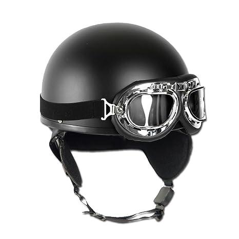 Mil-Tec Casco de moto con gafas Retro Vintage (Negro/S)