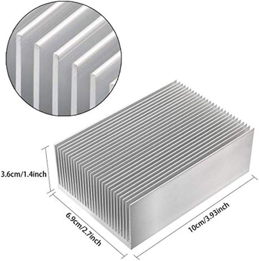 tatoko Aluminum Chipset Heatsink 100mm x69mm x36mm Heat Sink Cooling Fin for High Power Amplifier Transistor Semiconductor 2PCS