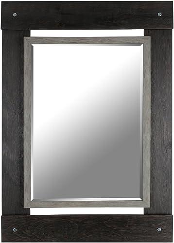 Mirrorize Black Gray Real Wood Wall Vanity