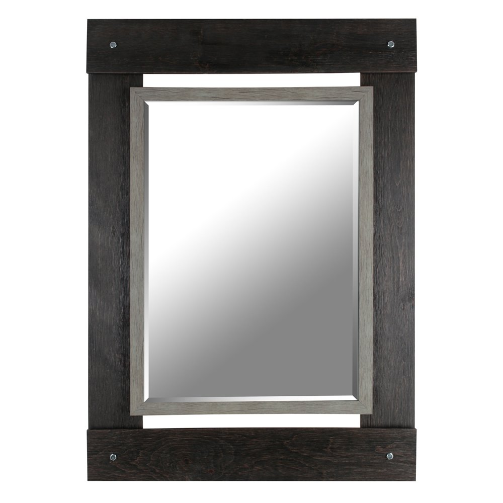 HobbitHoleCo Beveled Hanging Wall Decorative Mirror with Black & Gray Wash Frame, 30-Inch by 43-Inch