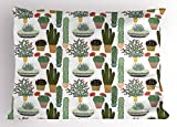 Ambesonne Cactus Pillow Sham, Pattern with Succulent Plants and Cactuses in Pots Botanical Floral Mexican Garden, Decorative Standard Size Printed Pillowcase, 26 X 20 inches, Multicolor