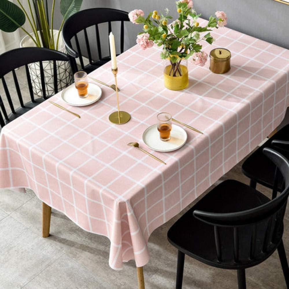 WJJYTX gartentischdecke eckig, Abwischbare Tischdecke aus Vinyl/Kunststoff Verbrühsicheres, ölbeständiges Einweg-PVC pink @ 140 * 220