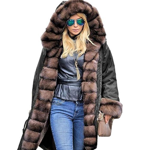 mymotto Femmes Vêtement de l hiver à Capuche Col de Fourrure Manches  Longues Manteau Mode f787de5e8ef