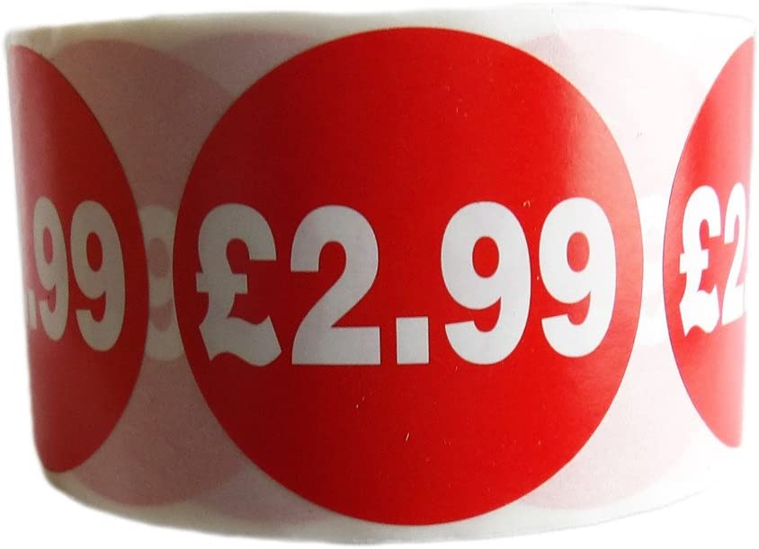 500x RED NUMBER 2 SELF ADHESIVE STICKERS STICKY LABELS SWING LABELS FOR RETAIL