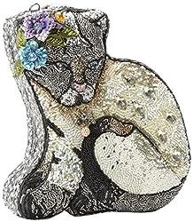 Extensively Beaded 3D Crystal Jeweled Cat Shaped Handbag