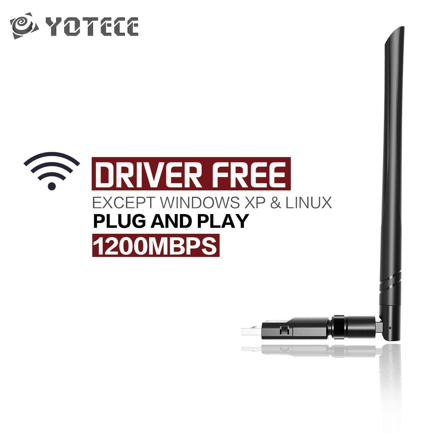 YOTECE USB WiFi Adapter 1200Mbps, Dual Band 2.4G/5GHz High Gain Dual 5dBi Antennas Network WiFi USB 3.0 Desktop Laptop Windows 10/8/7/XP, Mac OS X, Ubuntu Linux by YOTECE