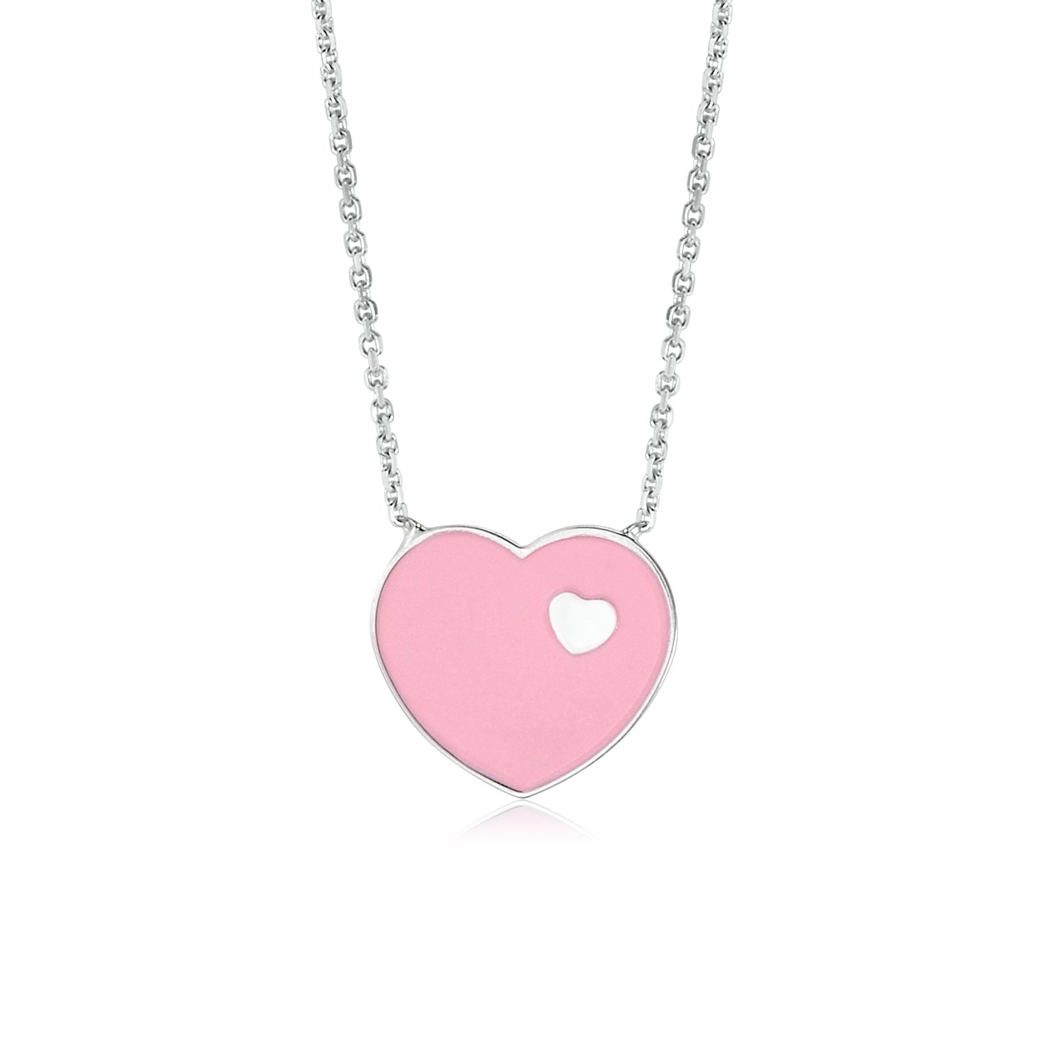 UNICORNJ 14K White Gold Pink Enamel Heart on Heart Pendant Necklace 16 Inches Italy