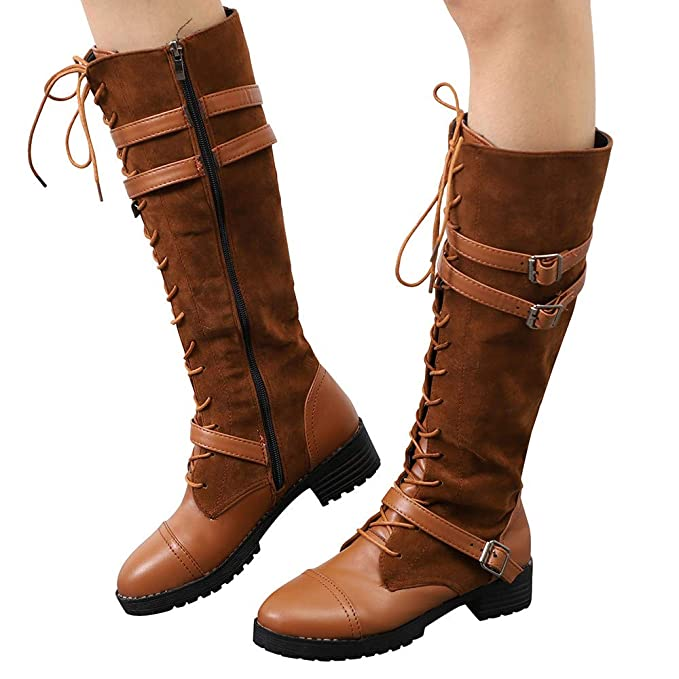 JiaMeng Mujer Botas De Nieve Calentar Invierno Planos Zapatos Botas largas de Vaquero Botas Altas de