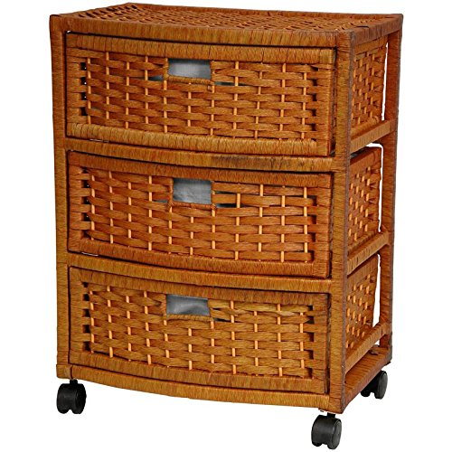 Oriental Furniture 23'' Natural Fiber Chest of Drawers - Honey by ORIENTAL Furniture
