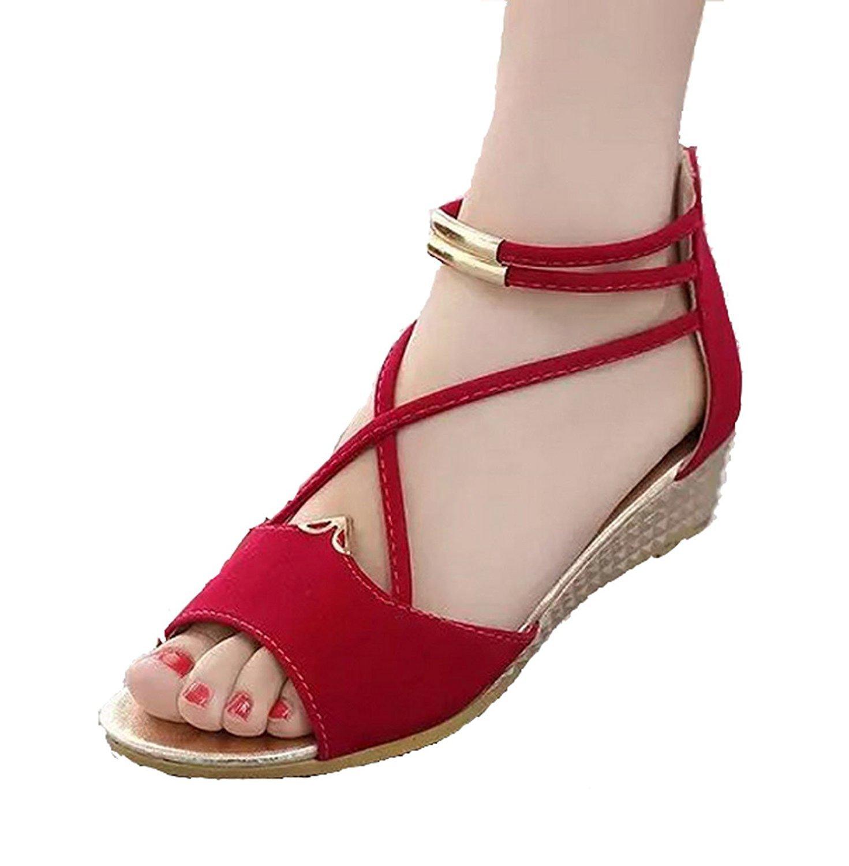 Hee grand Women Roman Style Open Toe Cross Strap Flat Sandals US 7 Red
