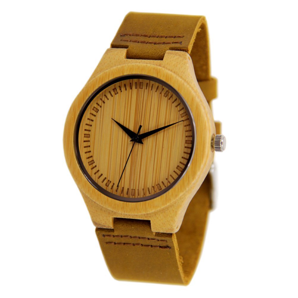 Bamboo Watches for Men with Genuine Leather Strap