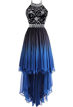e400c456003 HEAR Women s Ombre Halter Crystals Homecoming Gown Hi-Lo Gradient Backless  Chiffon Prom Dresses Hear256