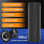 KORJO Waterproof Bluetooth Speaker 5W x 2 Stereo with LED Flashlight Support FM Radio, Hands-free, TF Card, 3.5 AUX 10 Hours Play Time Outdoor Portable Speakers for Smartphone Computer Black by swomall