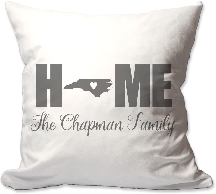 Pattern Pop Personalized North Carolina Home with Heart Throw Pillow