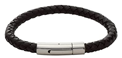 Code Red Leather Plaited Black Boys Bracelet of Length 18 cm wsGZGk6