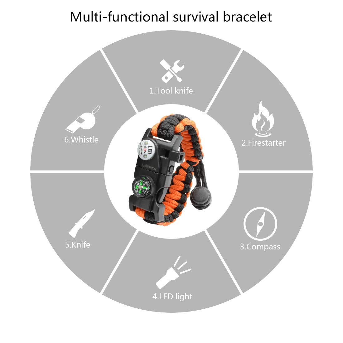 LeMotech Survival Bracelet, 20 in 1 Adjustable Survival Paracord Bracelet, Survival Gear Kit with Compass, Rescue Whistle, Fire Starter for Hiking, Camping and Hunting - 2 Pack by LeMotech (Image #4)