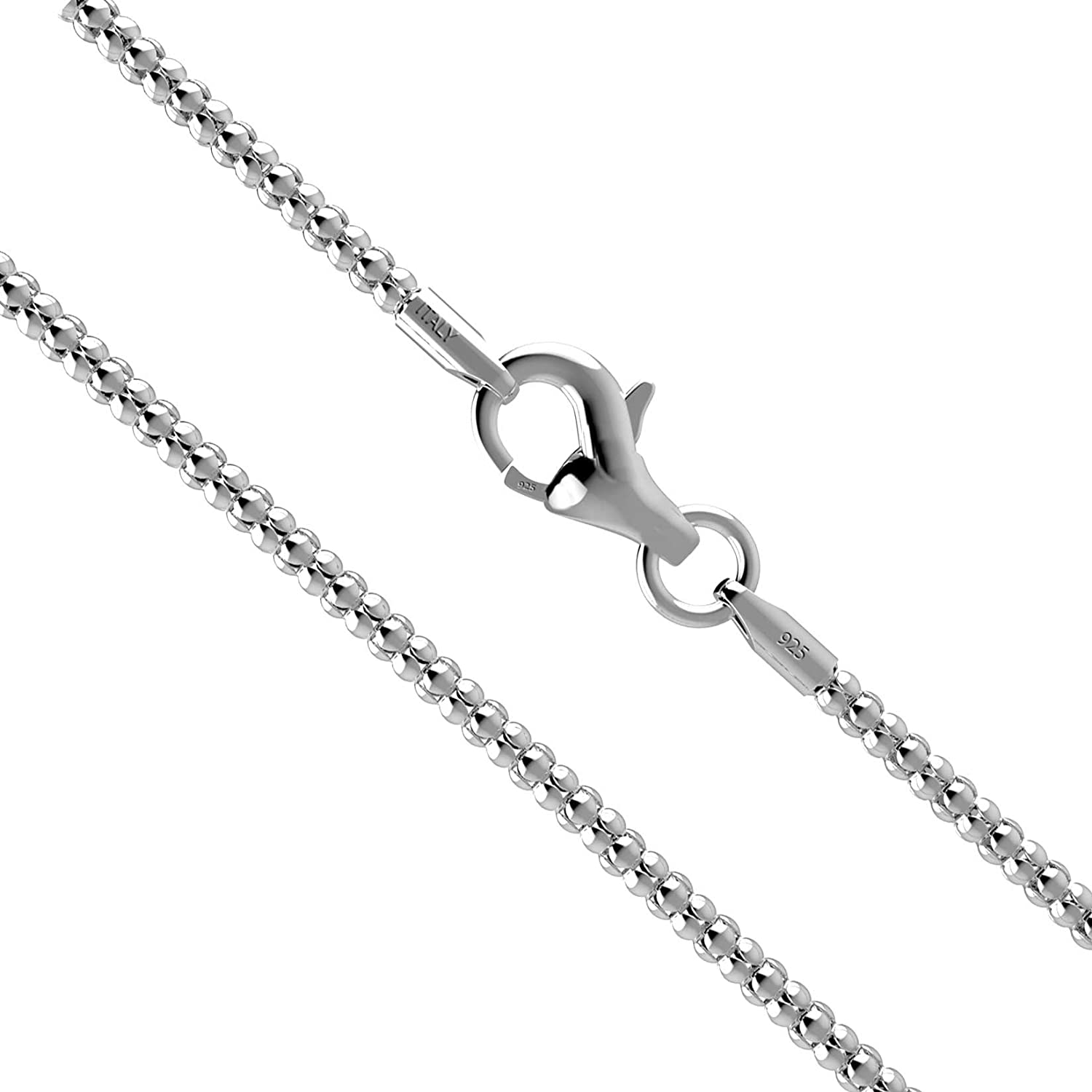 KEZEF Sterling Silver 925 Rose Gold Plated Popcorn Chain 1.6mm Made in Italy IR58W