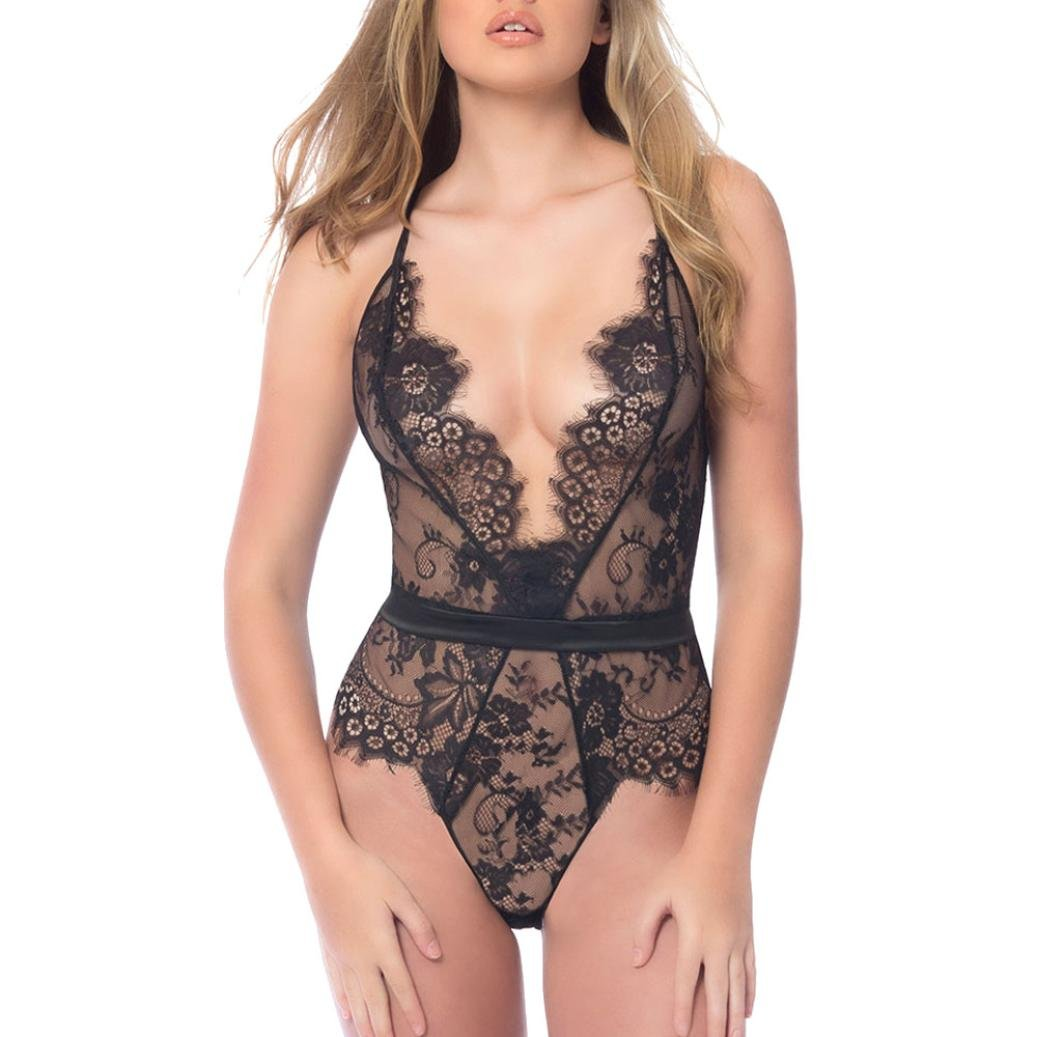 09b2becf9d Amazon.com  Rambling Women One Piece Sexy Lingerie Deep V Teddy Lace  Bodysuit Mini Babydoll Jumlsuit Underwear  Clothing